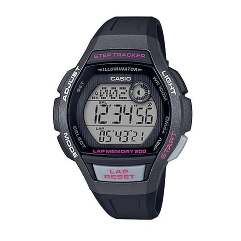 Casio Ladies' Sports Step Tracker Black Resin Band Watch LWS2000H-1A LWS-2000H-1A