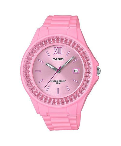Casio Ladies' Standard Analog Pink Resin Band Watch LX500H-4E2 LX-500H-4E2
