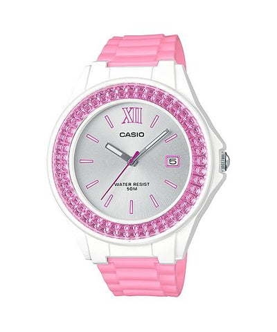 Casio Ladies' Standard Analog Pink Resin Band Watch LX500H-4E3 LX-500H-4E3