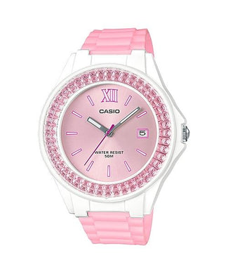 Casio Ladies' Standard Analog Pink Resin Band Watch LX500H-4E5 LX-500H-4E5