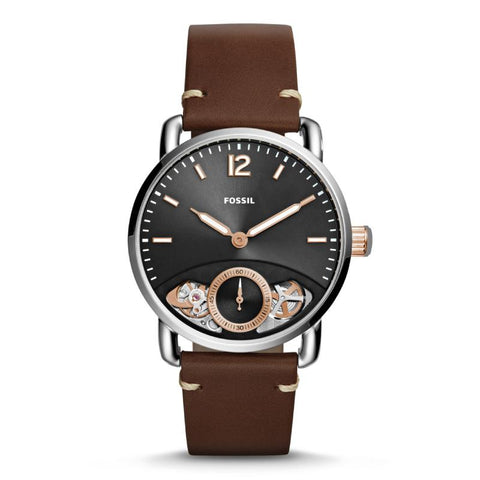 Fossil Men's The Commuter Twist Brown Leather Strap Watch ME1165