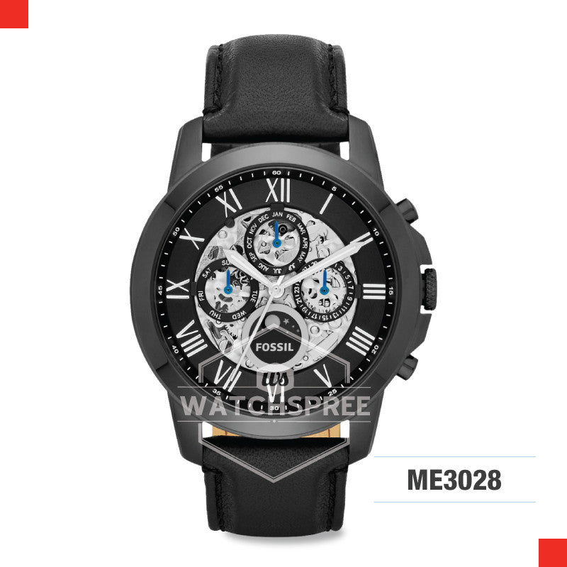 Fossil Men Grant Automatic Black Leather Watch ME3028
