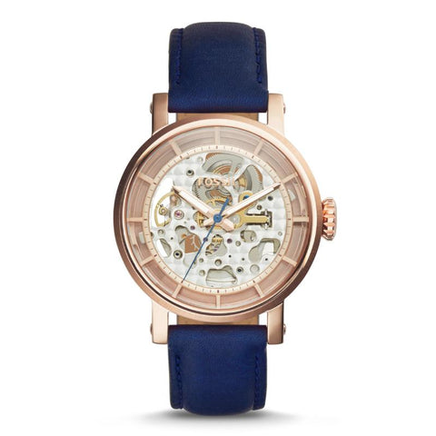 Fossil Ladies' Original Boyfriend Automatic Navy Leather Watch ME3086