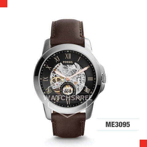 Fossil Men Grant Automatic Dark Brown Leather Watch ME3095