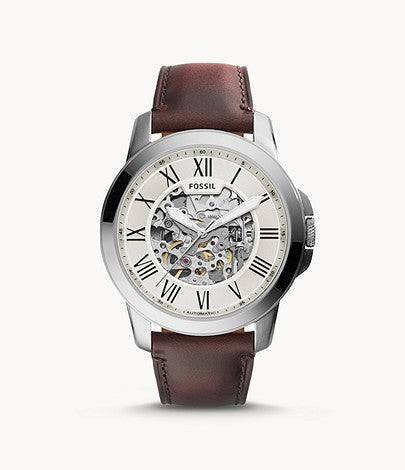 Fossil Men Grant Automatic Dark Brown Leather Watch ME3099