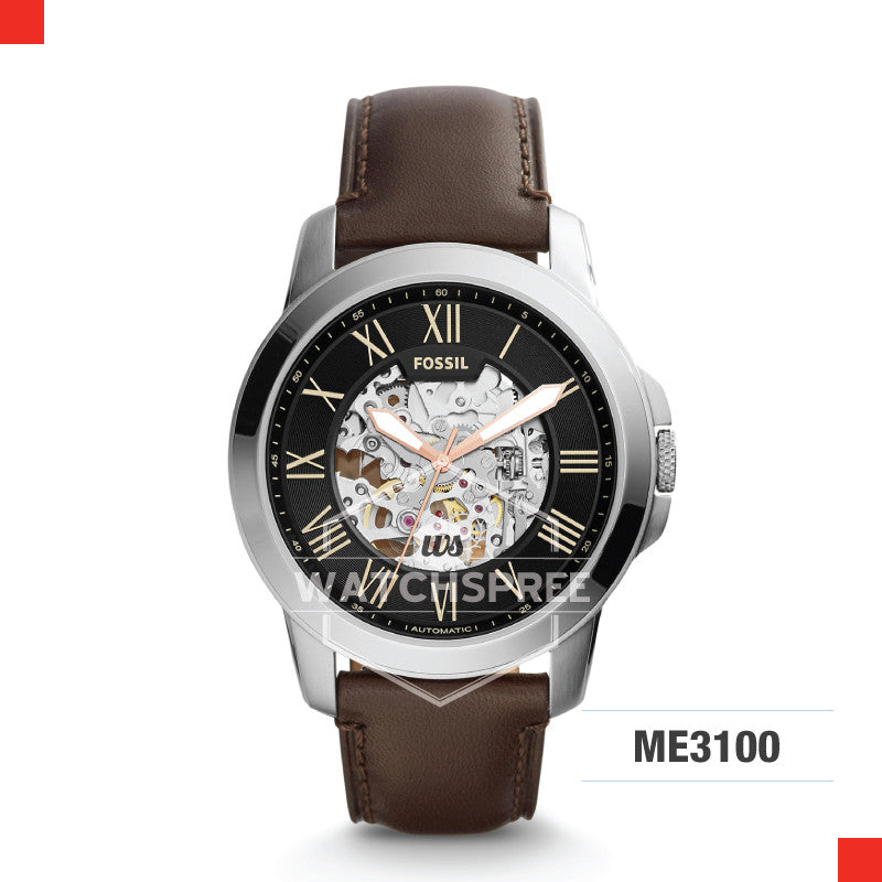 Fossil Men Grant Automatic Brown Leather Watch ME3100