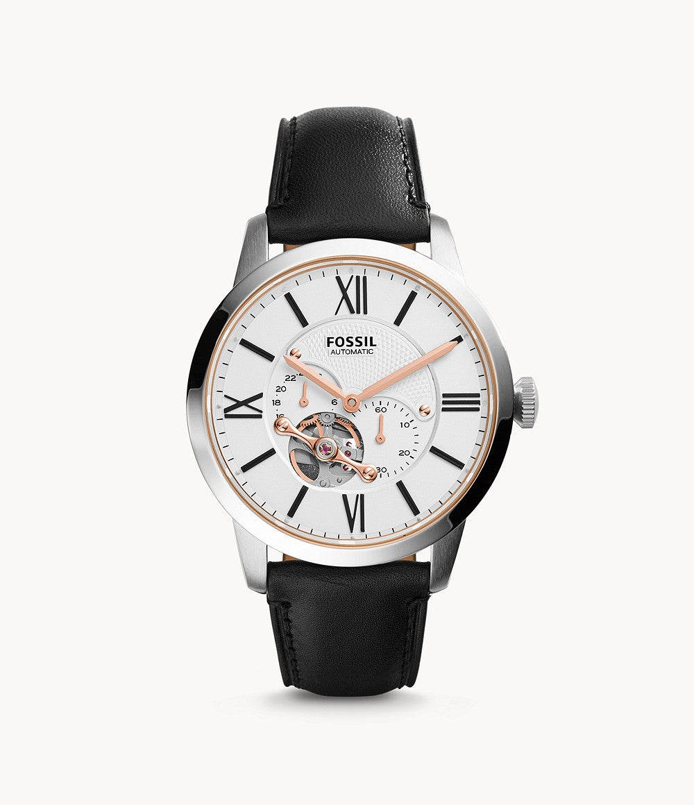 Fossil Men Townsman Automatic Black Leather Watch ME3104