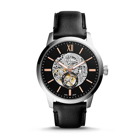 Fossil Men's Townsman 48mm Automatic Black Leather Watch ME3153