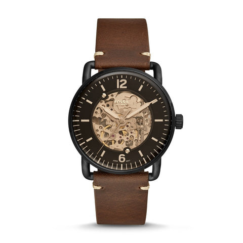 Fossil Men's Commuter Automatic Brown Leather Watch ME3158