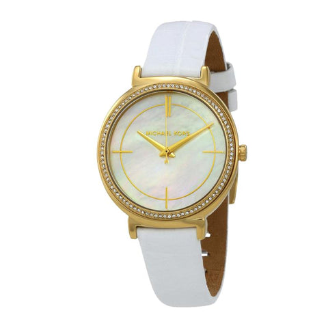 Michael Kors Ladies' Cinthia White Leather Strap Watch MK2662