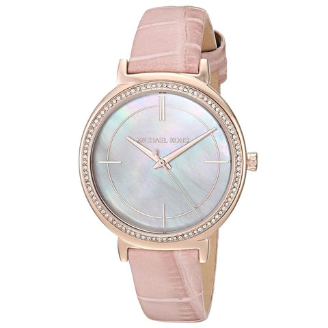 Michael Kors Ladies' Cinthia Pink leather Strap Watch MK2663