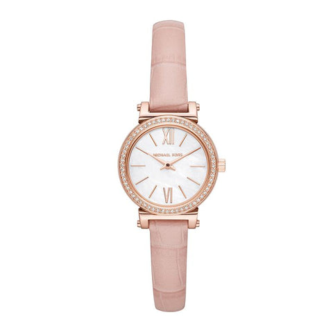 Michael Kors Ladies' Sofie Pink Leather Strap Watch MK2715