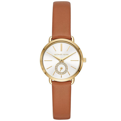 Michael Kors Ladies' Petite Portia Brown Leather Strap Watch MK2734