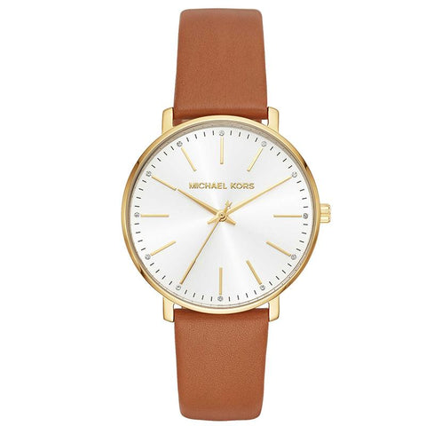 Michael Kors Ladies' Pyper Brown Leather Strap Watch MK2740