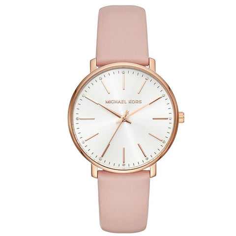 Michael Kors Ladies' Pyper Pink Leather Strap Watch MK2741