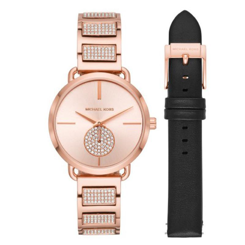 54d39ae91e05 Michael Kors Ladies  Portia Rose Gold Tone Stainless Steel Watch Set MK2776