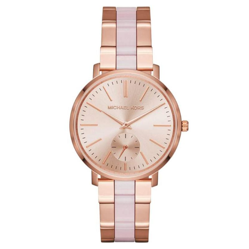 Michael Kors Ladies Jaryn Rose Gold Tone And Acetate Watch Mk3661