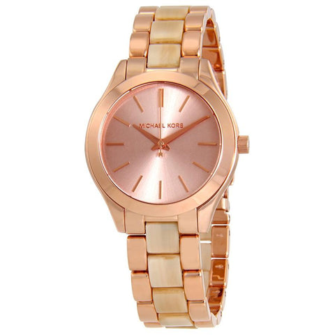 Michael Kors Ladies' Mini Slim Runway Rose Gold Stainless Steel Watch MK3701