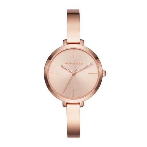 Michael Kors Ladies' Jaryn Rose Gold Tone Three-Hand Bangle Watch MK3735