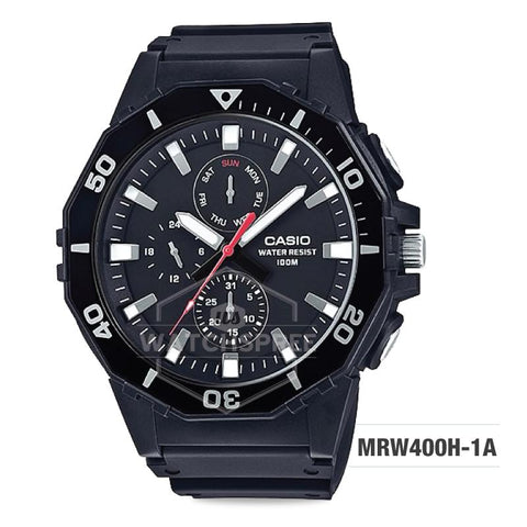 Casio Men's Diver Style Black Resin Band Watch MRW400H-1A