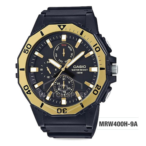 Casio Men's Diver Style Black Resin Band Watch MRW400H-9A