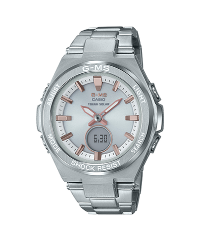 Casio Baby-G G-MS Lineup Tough Solar Silver Stainless Steel Band Watch MSGS200D-7A MSG-S200D-7A