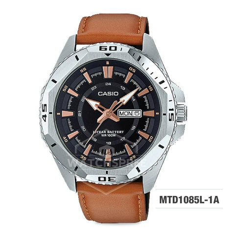 Casio Standard Analog Brown Leather Strap Watch MTD1085L-1A