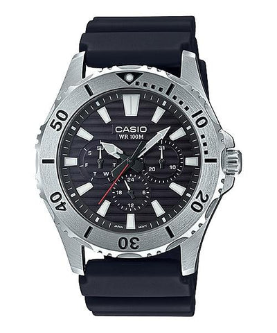 Casio Men's Standard Analog Marine Sports Black Resin Band Watch MTD1086-1A MTD-1086-1A
