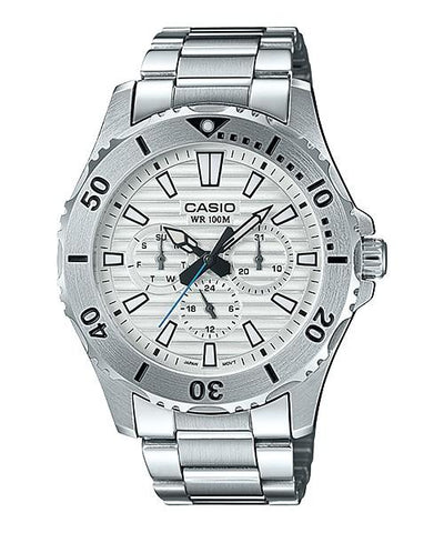 Casio Men's Standard Analog Marine Sports Silver Stainless Steel Band Watch MTD1086D-7A MTD-1086D-7A