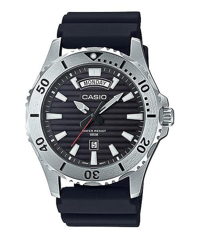 Casio Men's Standard Analog Marine Sports Black Resin Band Watch MTD1087-1A MTD-1087-1A