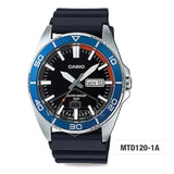 Casio Men's Standard Analog Black Resin Band Watch MTD120-1A