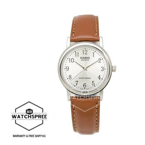 Casio Men's Standard Analog Brown Leather Strap Watch MTP1095E-7B