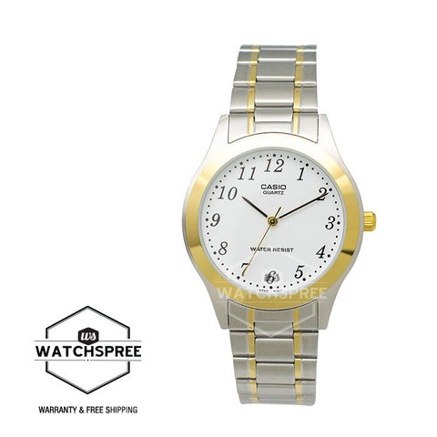 Casio Standard Analog Two tone Stainless Steel Watch MTP1128G-7B