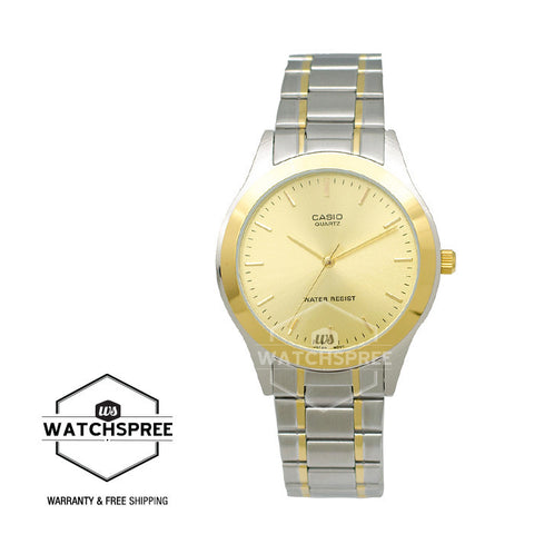 Casio Standard Analog Two tone Stainless Steel Watch MTP1128G-9A