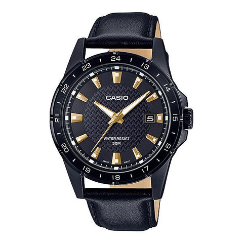 Casio Men's Analog Black Leather Band Watch MTP1290BL-1A1 MTP-1290BL-1A1
