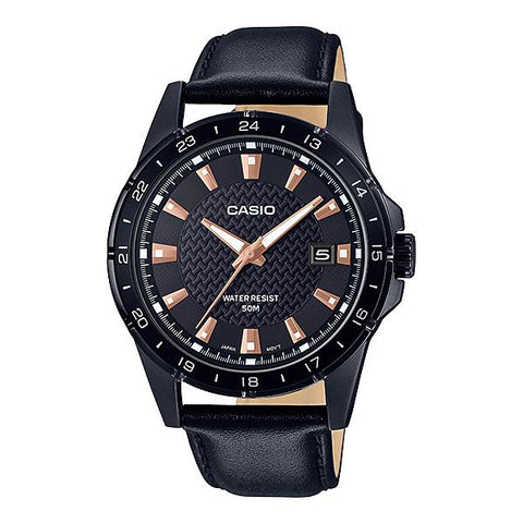 Casio Men's Analog Black Leather Band Watch MTP1290BL-1A2 MTP-1290BL-1A2