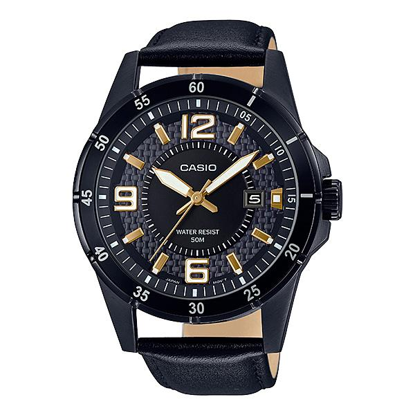 Casio Men's Analog Black Leather Band Watch MTP1291BL-1A1 MTP-1291BL-1A1