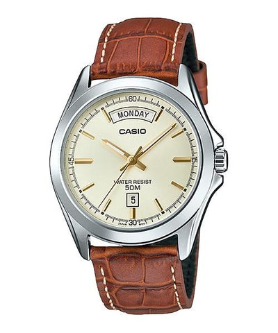 Casio Men's Standard Analog Brown Leather Strap Watch MTP1370L-9A MTP-1370L-9A