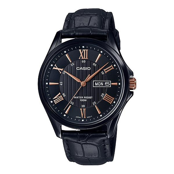 Casio Men's Analog Black Leather Band Watch MTP1384BL-1A2 MTP-1384BL-1A2