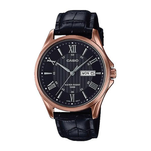 Casio Men's Standard Analog Black Leather Strap Watch MTP1384L-1A2 MTP-1384L-1A2
