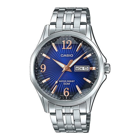 Casio Men's Analog Silver Stainless Steel Band Watch MTPE120DY-2A MTP-E120DY-2A