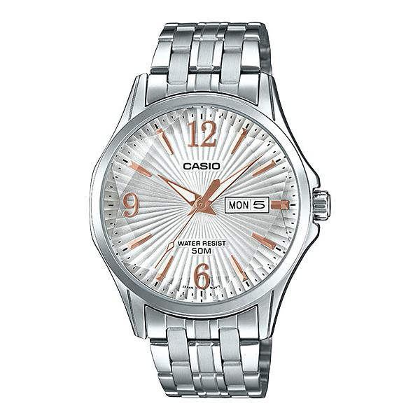 Casio Men's Analog Silver Stainless Steel Band Watch MTPE120DY-7A MTP-E120DY-7A