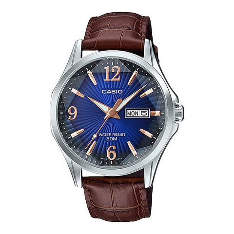 Casio Men's Enticer Series Dark Brown Leather Band Watch MTPE120LY-2A MTP-E120LY-2A