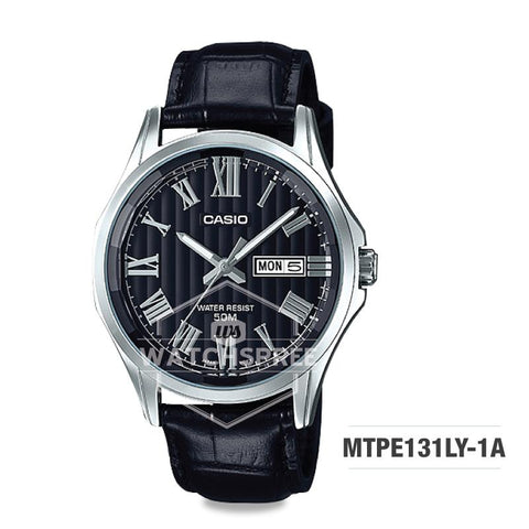Casio Men's Analog Black Leather Strap Watch MTPE131LY-1A