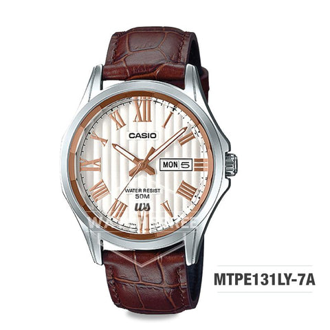 Casio Men's Standard Analog Brown Leather Strap Watch MTPE131LY-7A MTP-E131LY-7A