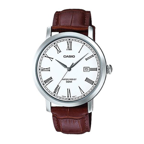 Casio Men's Standard Analog Brown Leather Strap Watch MTPE149L-7B MTP-E149L-7B