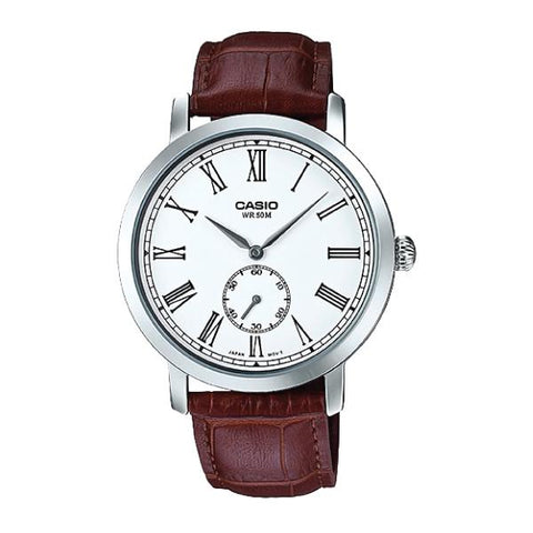 Casio Men's Standard Analog Brown Leather Strap Watch MTPE150L-7B MTP-E150L-7B