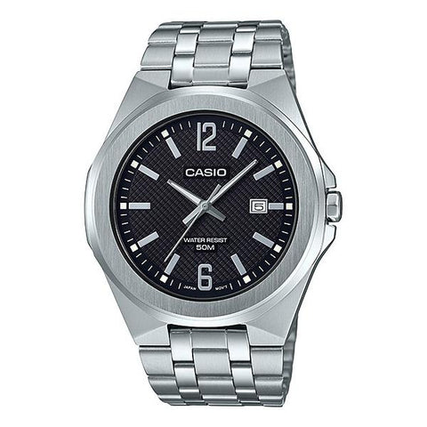 Casio Men's Analog Silver Stainless Steel Band Watch MTPE158D-1A MTP-E158D-1A