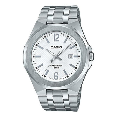 Casio Men's Analog Silver Stainless Steel Band Watch MTPE158D-7A MTP-E158D-7A