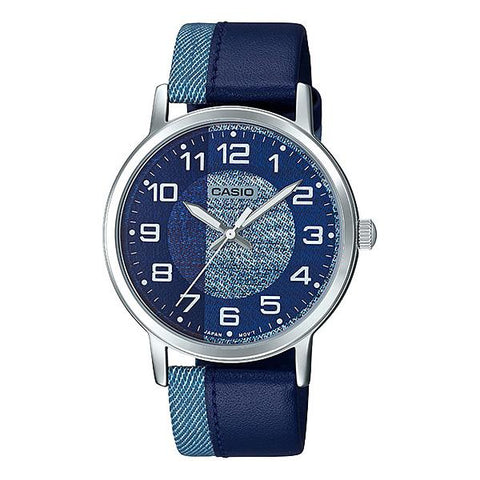 Casio Men's Standard Analog Blue Leather Band Watch MTPE159L-2B1 MTP-E159L-2B1